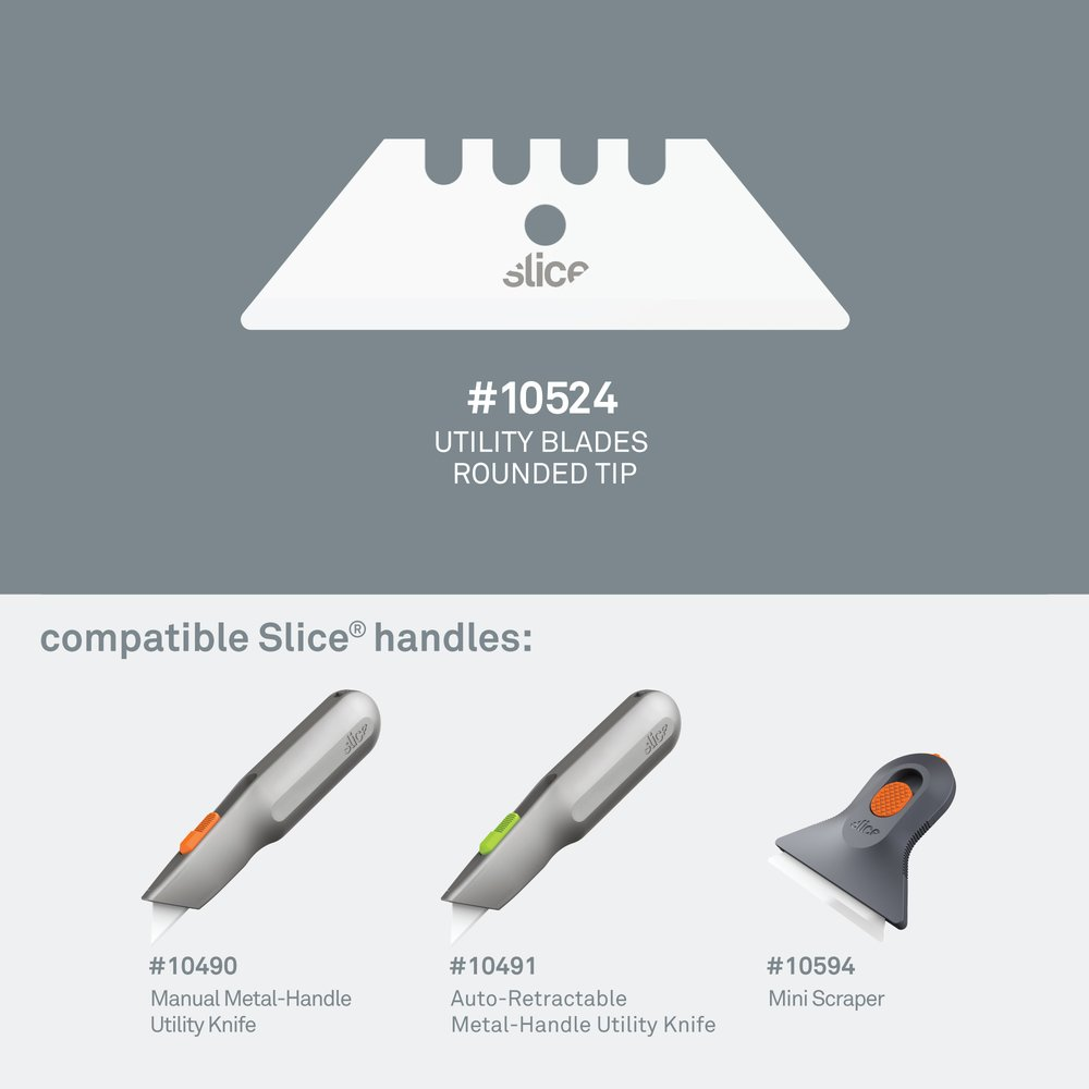 Rounded-tip 10524 blade, the compatible utility knife handles, and the mini utility scraper.
