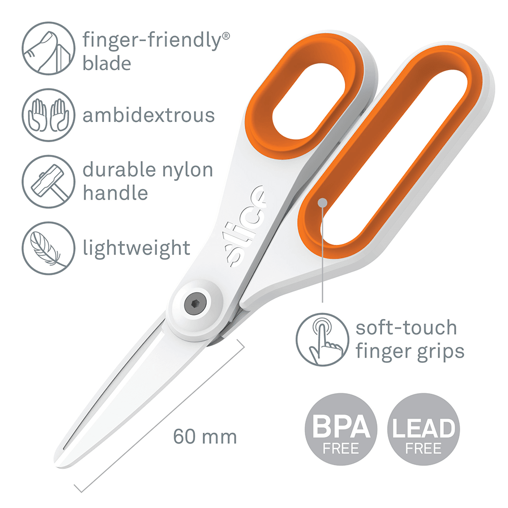 The Slice 10545 Ceramic Scissors (Large) are pictured with a list of features.
