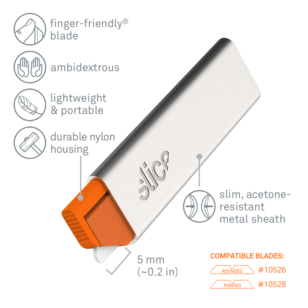 Image shows the 10585 Manual Carton Cutter, a smaller box cutter, and lists its features.